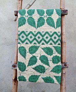 Leaves Polka Dot Kantha Blanket