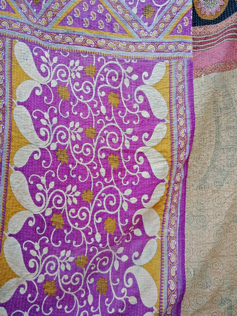 Paisley Floral Twin Kantha Throw