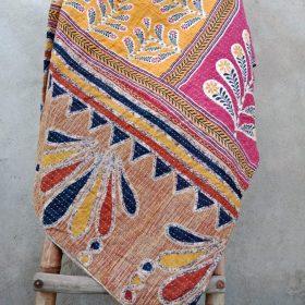 Boho Twin Size Kantha Quilt