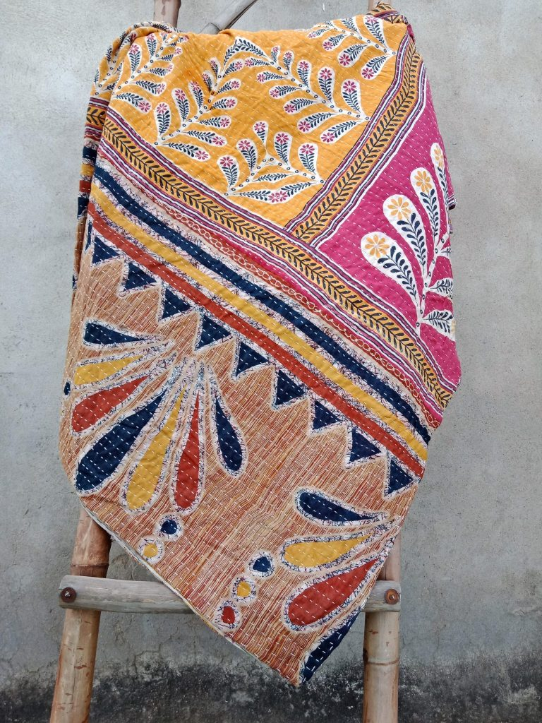 Boho Twin Size Kantha Quilt