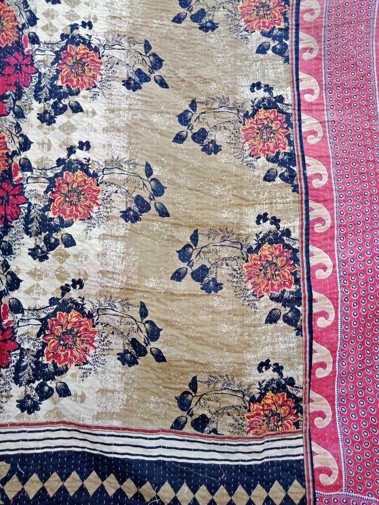 Floral Unique Kantha Quilt Twin Online