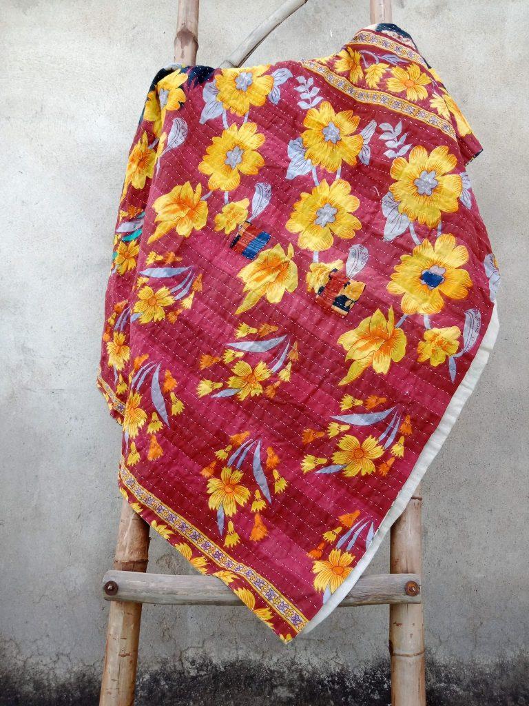 Online Floral Vintage Kantha Twin Quilt