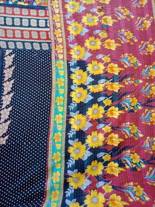 Black Polka Dot Vintage Kantha Twin Quilt