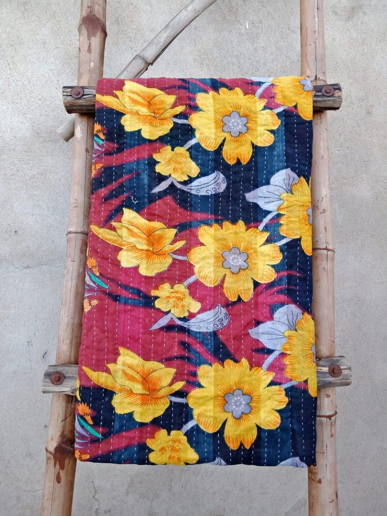 Vibrant colored Vintage Kantha Twin Quilt