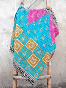Lotus Indian National Flower Kantha Quilt