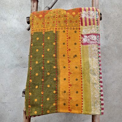 Polka Dot Heavy 6 Layered Vintage Kantha Quilt