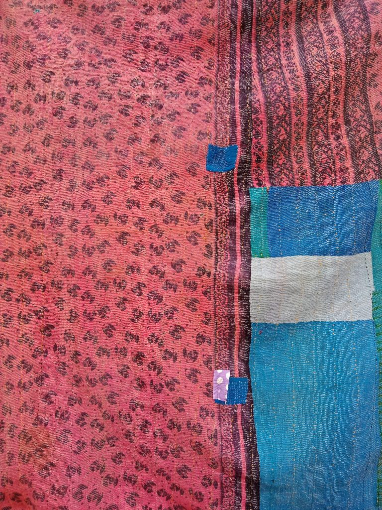 patchwork Floral Queen Kantha