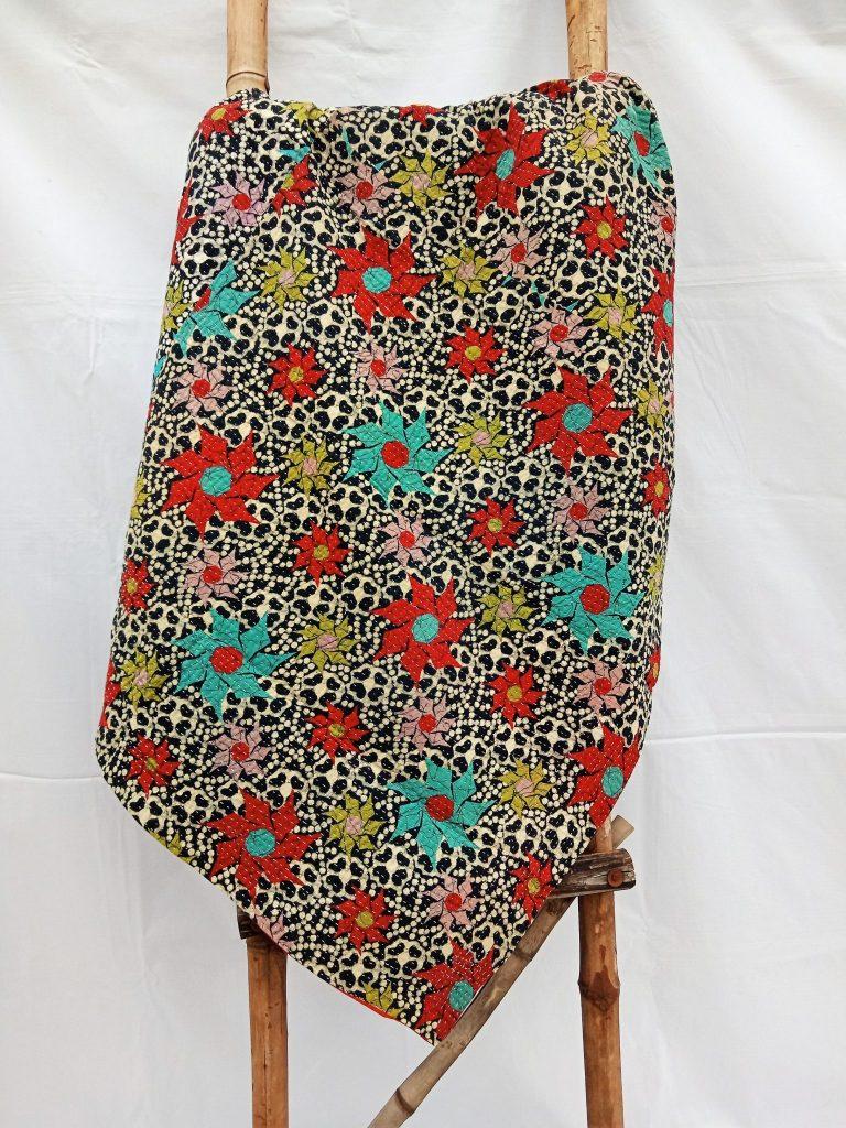 Reversible Fine Stitched Kantha Quilt