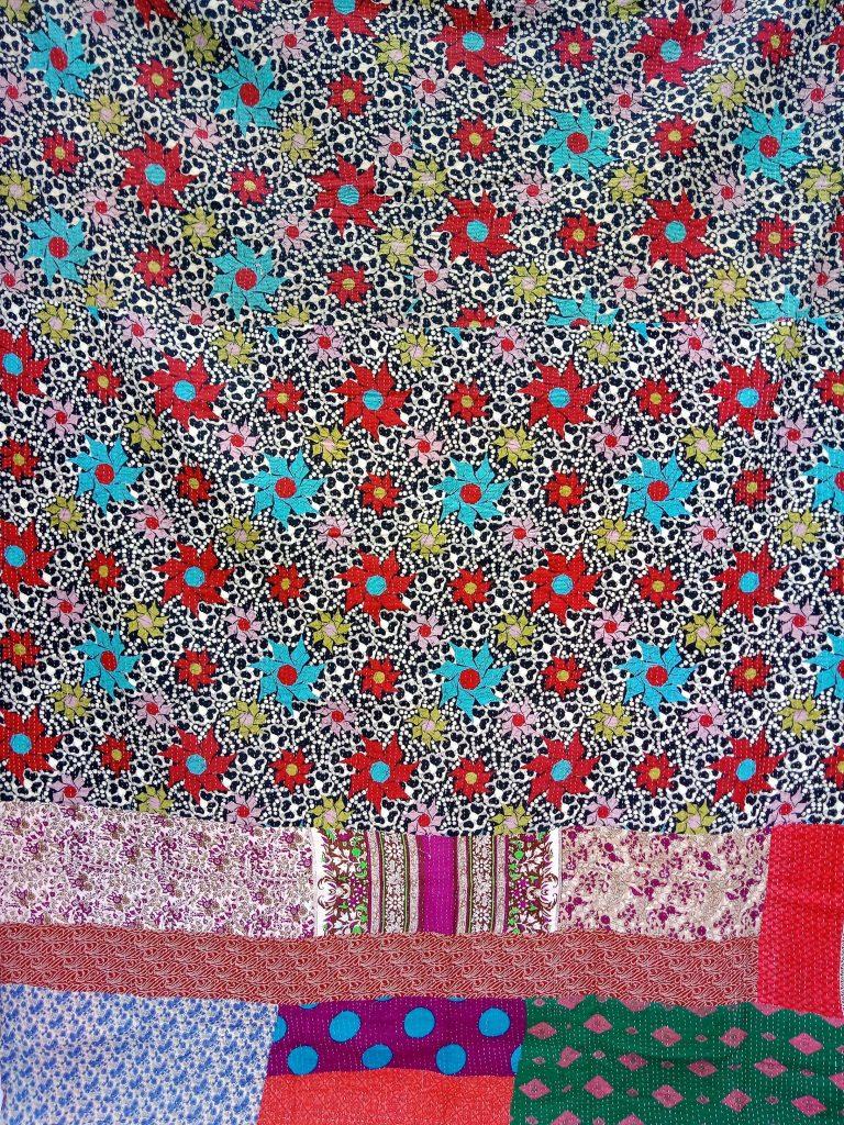 Floral Polka Dot Fine Stitched Kantha Quilt