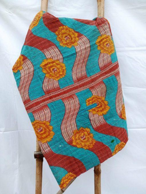 Reversible Cotton Spiral design Floral Kantha