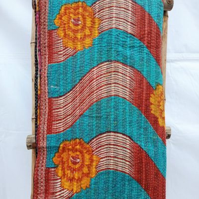 Queen Floral Reversible Fine Kantha Quilt