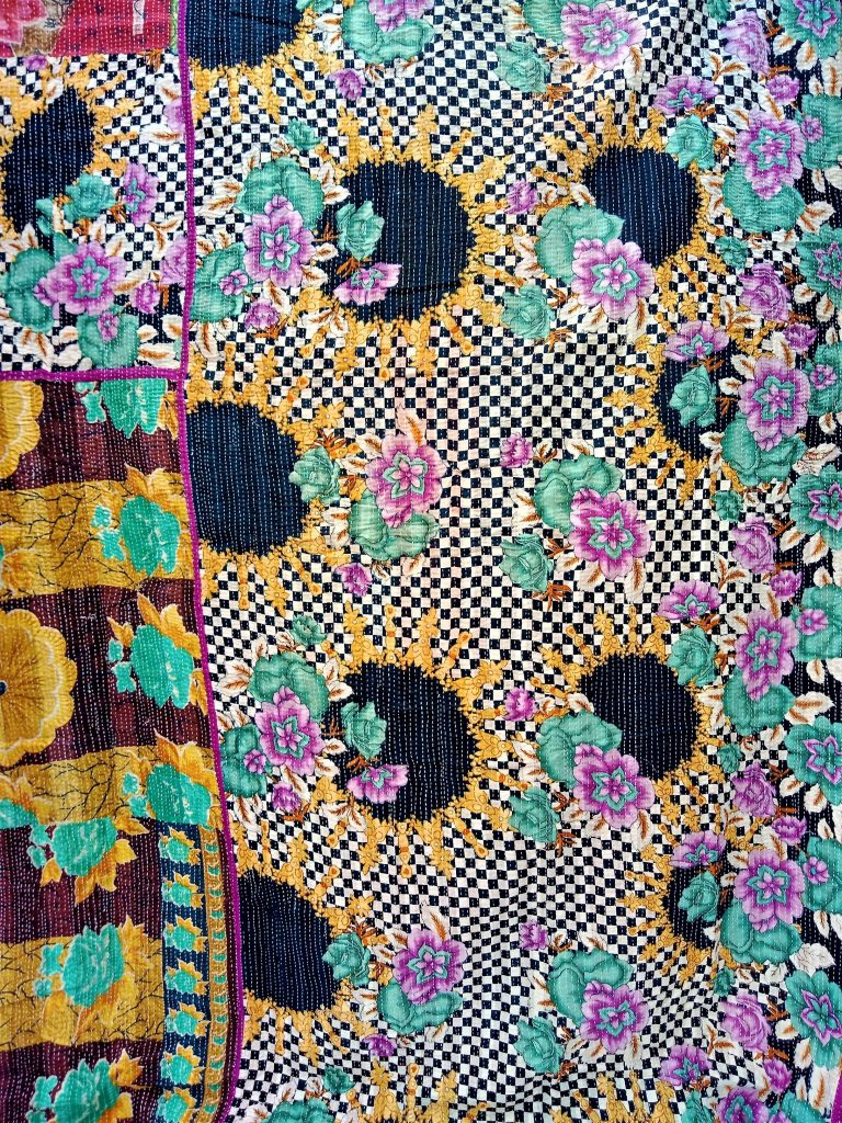Checker Board Floral Queen Kantha