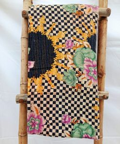 Checkerboard Floral Close Stitched Kantha Quilt