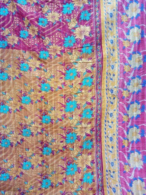 Spring Blossom Kantha Quilt