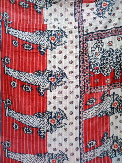 Designer Floral Kantha Quilt Queen