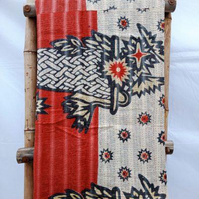 Waves Fine Stitched Vintage Kantha Quilt Queen