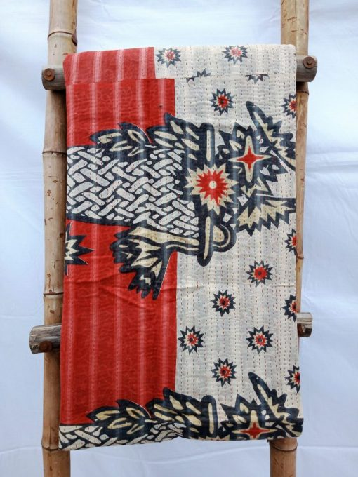 Waves Fine Stitched Vintage Kantha Quilt Queen
