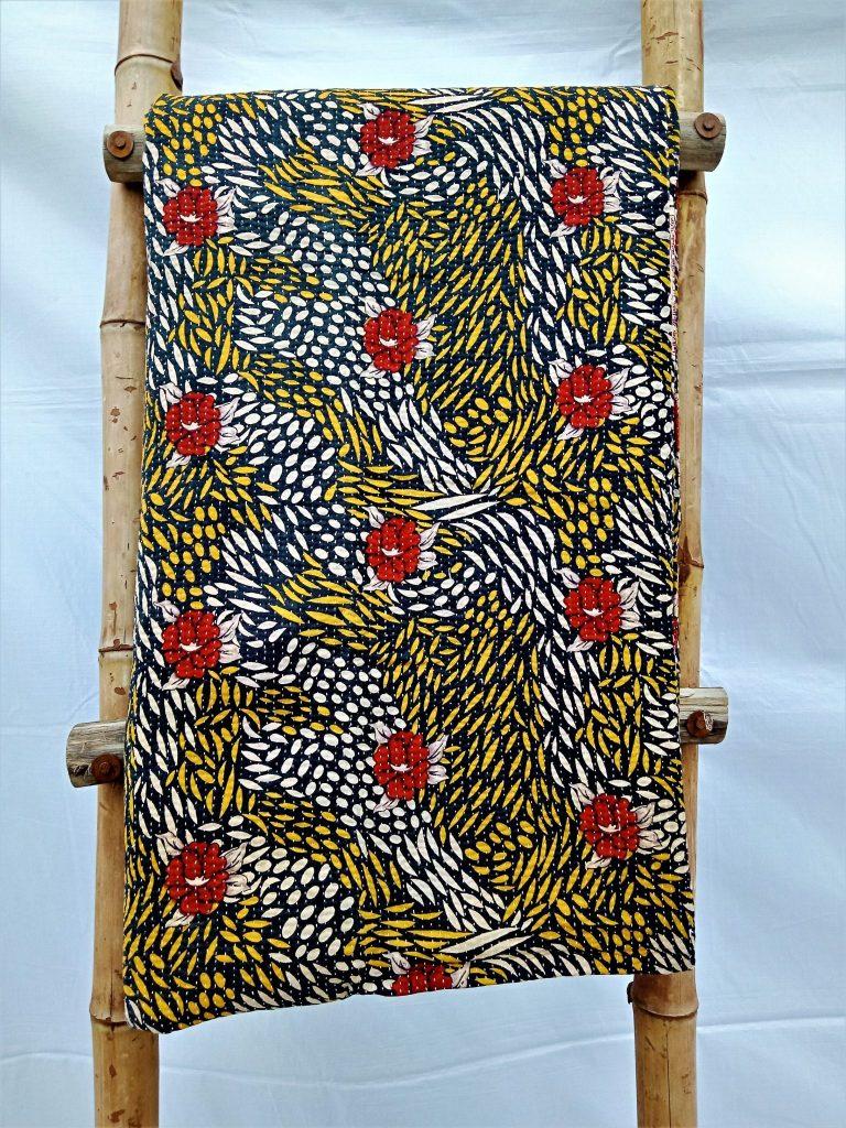 Designer Queen Fine Stitched Kantha Quilt