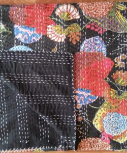 black floral fruit kantha quilt