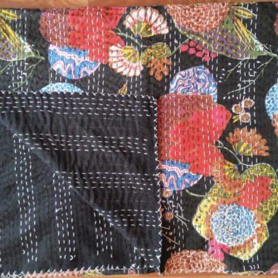 black floral fruit kantha quilt