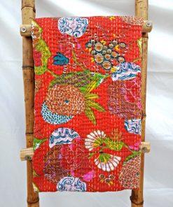 Floral Fruit Kantha Quilt