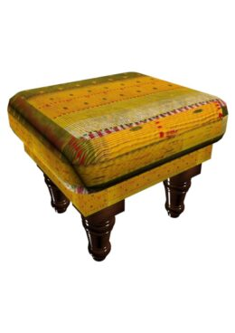 Kantha Cushioned Wooden Stool