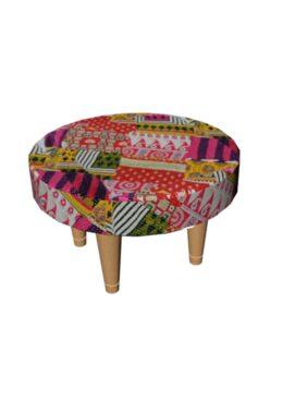 Patchwork Kantha Wooden Stool