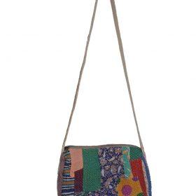 Vintage Kantha Quilt Tote Shoulder Bag leather handle bag recycled kantha bag inside pocket bag jhola bag