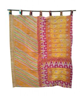 Kantha Quilt Reversible Curtain Indian