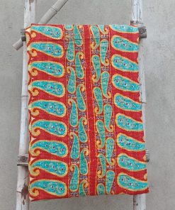 Turquoise Vintage Kantha Quilt