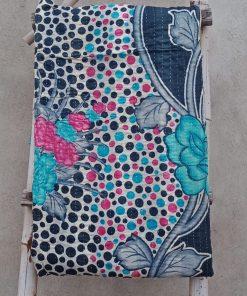Polka Dot Floral Kantha Quilt