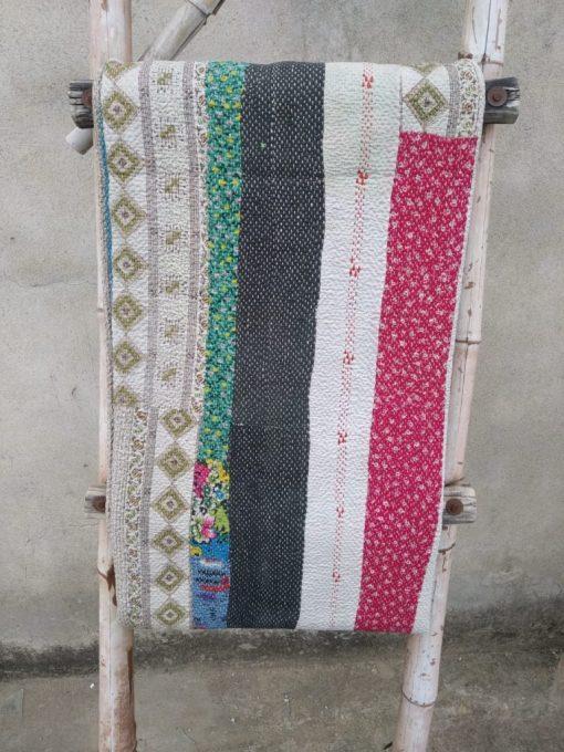 6 layered Patchwork Vintage Kantha Quilt