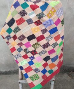 vibrant coloured heavy kantha quilt