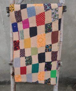 Checkerboard Heavy Vintage Kantha Quilt