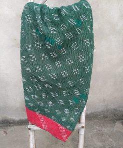 green vintage kantha quilt