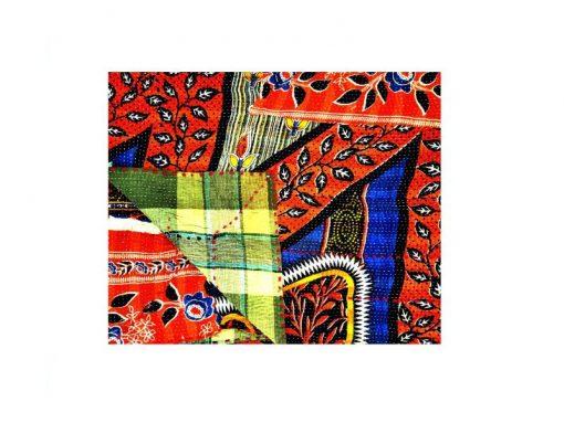 Heavy Fine Stitched Kantha Quilt Floral