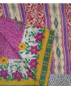 Blossom Reversible Kantha Quilt