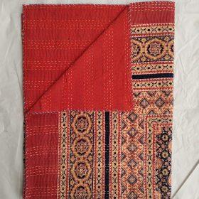 Ajrak Blockprint Kantha Blanket
