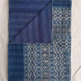 Ajrak Blockprint Indigo Color Kantha Blanket