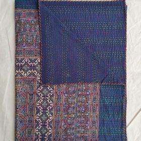 New Ajrak Blockprint Kantha Blanket