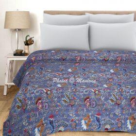Kantha Paisley Floral Cotton Blanket